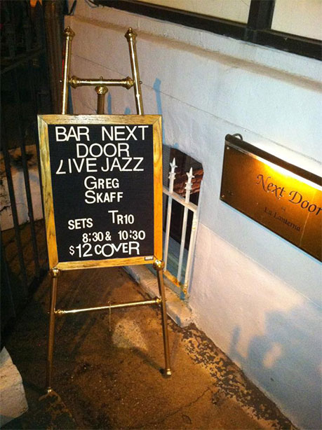 Promotional sign for live jazz